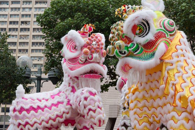 狮子,龙舞蹈在香港,中国 库存图片