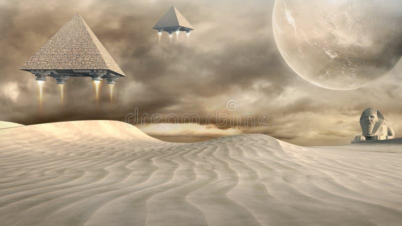 狮身人面象和飞行金字塔 皇族释放例证