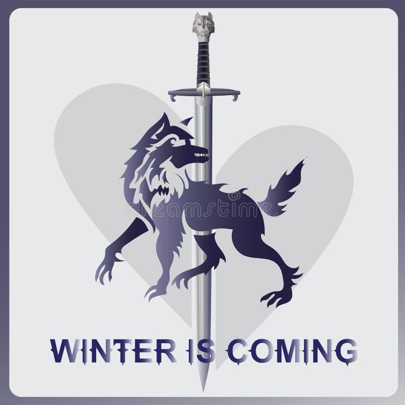 狼、剑和心脏 冬天来 向量例证