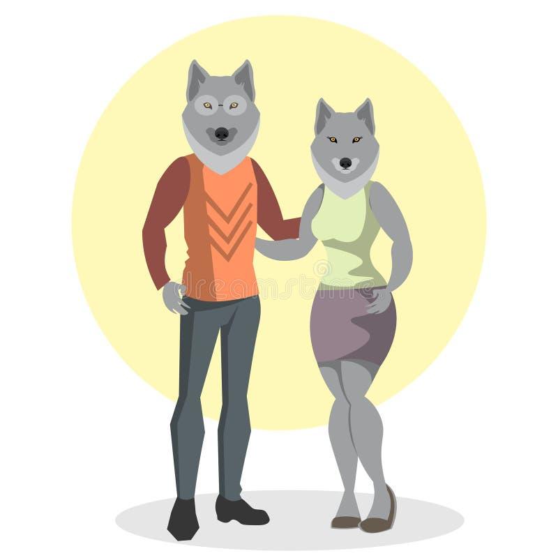 狼和狼时尚的例证 库存例证