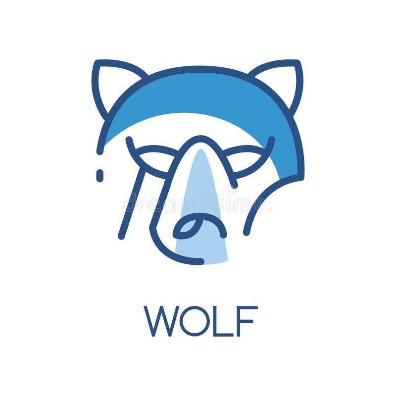 狼商标设计、蓝色标签、徽章或者象征与食肉动物的传染媒介例证头在白色背景 库存例证