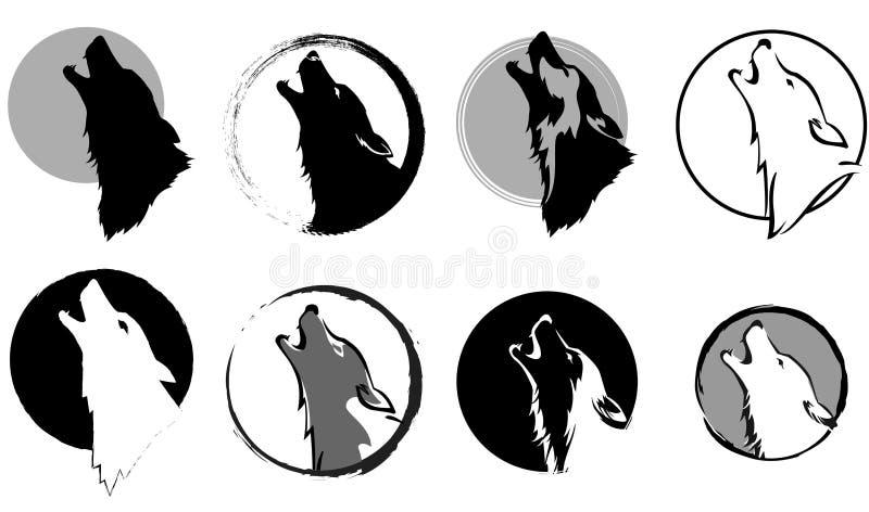 狼嗥叫对月亮 库存例证