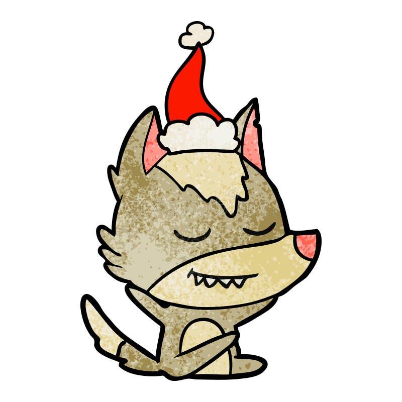 狼坐的佩带的圣诞老人帽子的友好的织地不很细动画片 向量例证