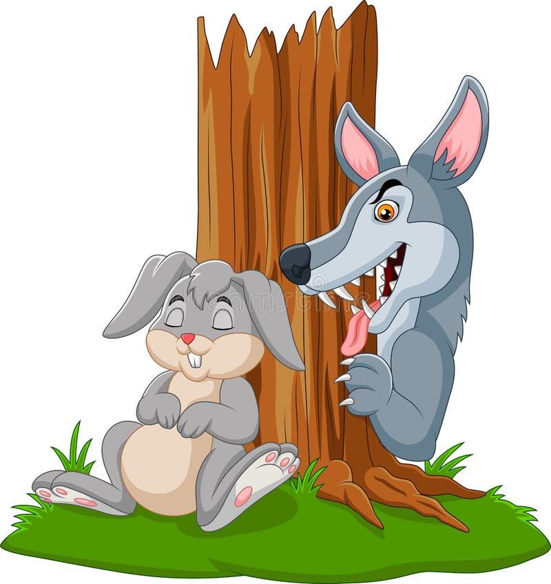 狼狩猎睡觉在树下的兔子 皇族释放例证