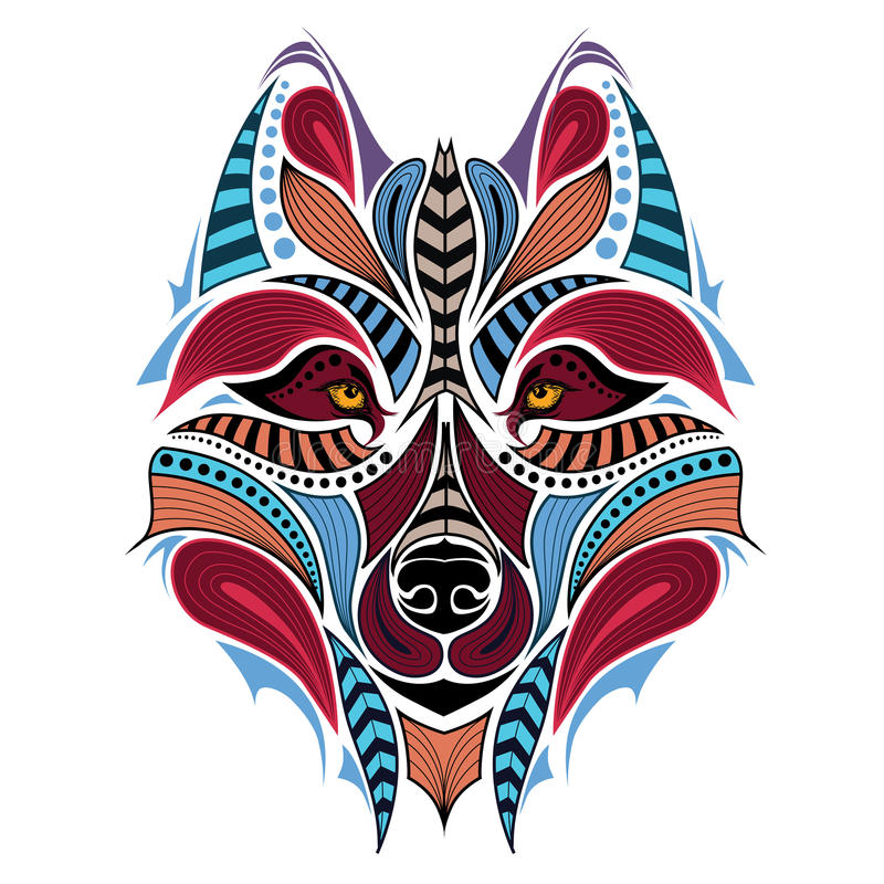 狼的被仿造的色的头 非洲/印地安人/图腾/纹身花刺设计 向量例证