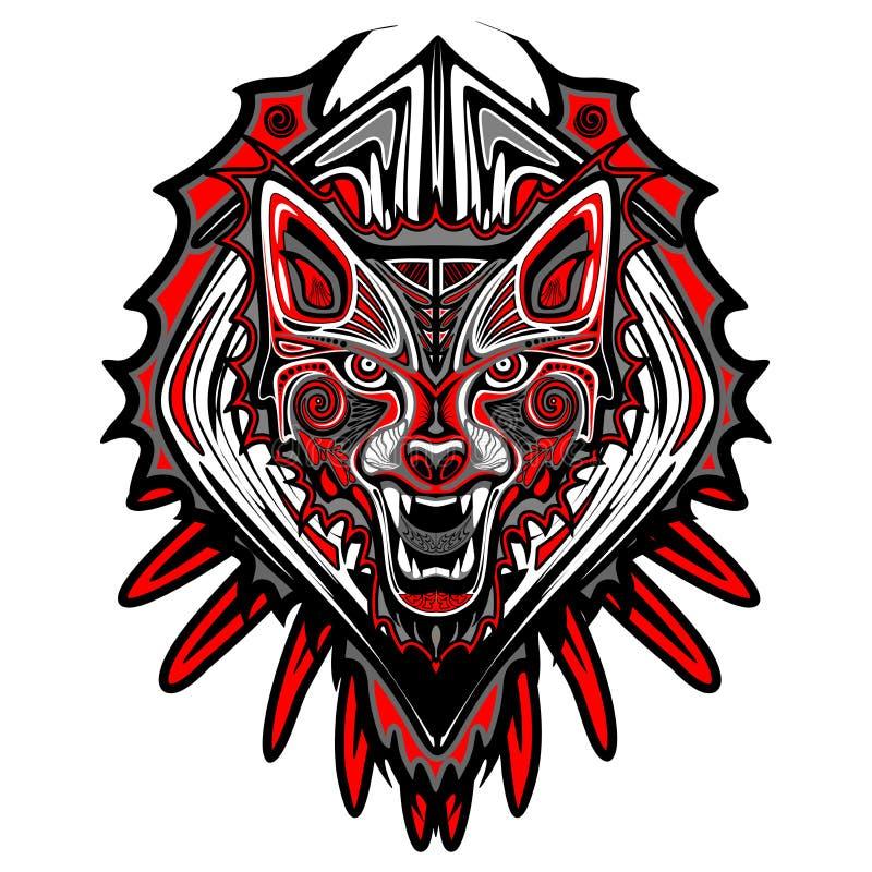 当海达族人艺术被做的装饰剧烈狼画象或者纹身花刺样式 id.图片