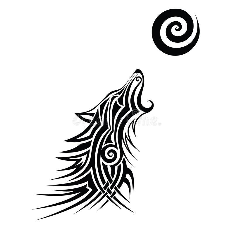 狼纹身花刺部族传染媒介设计剪影 向量例证