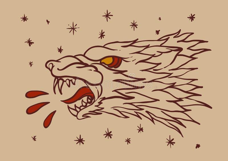 狼顶头纹身花刺 皇族释放例证