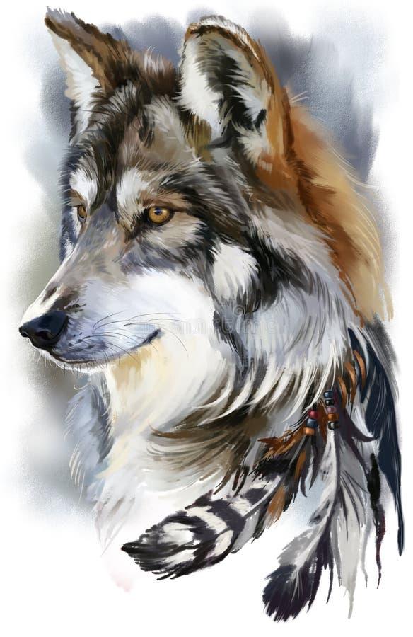 狼水彩绘画 皇族释放例证