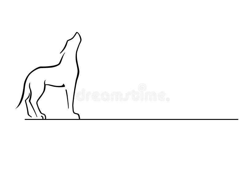 狼 狗 接近嗥叫狼 徽标 线描 库存图片