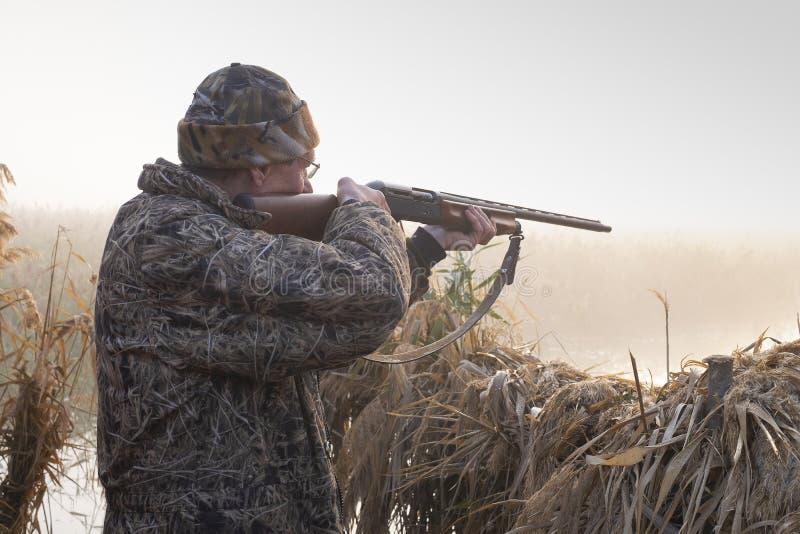 猎人射击一杆枪在黎明 免版税图库摄影