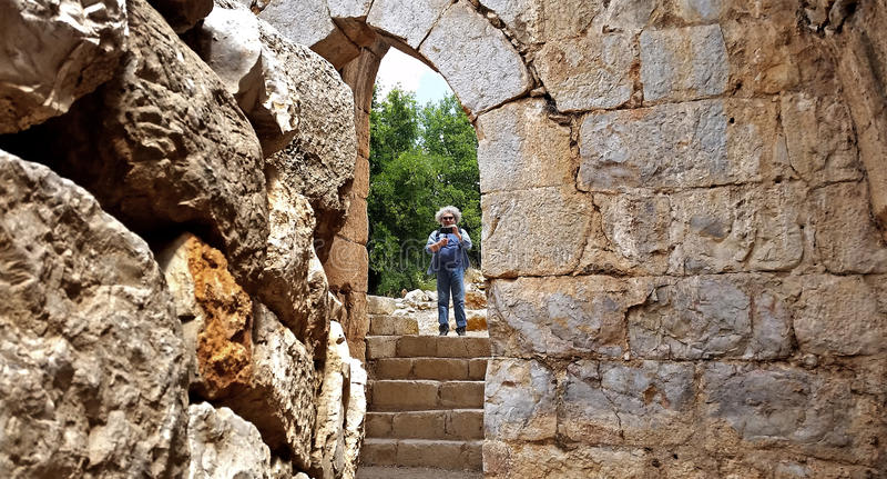 猎人` s堡垒废墟在以色列 免版税库存图片