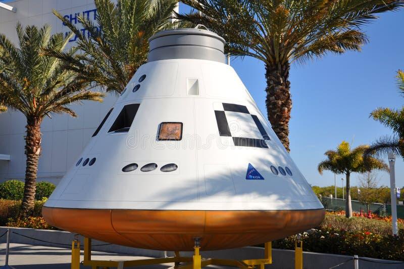 猎户星座航天器模型在肯尼迪航天中心中 库存图片