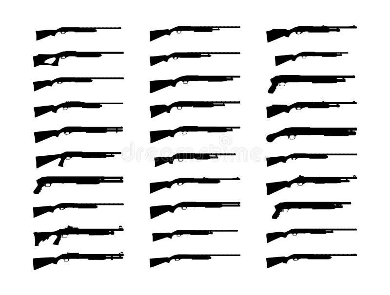 猎枪剪影集合 图库摄影