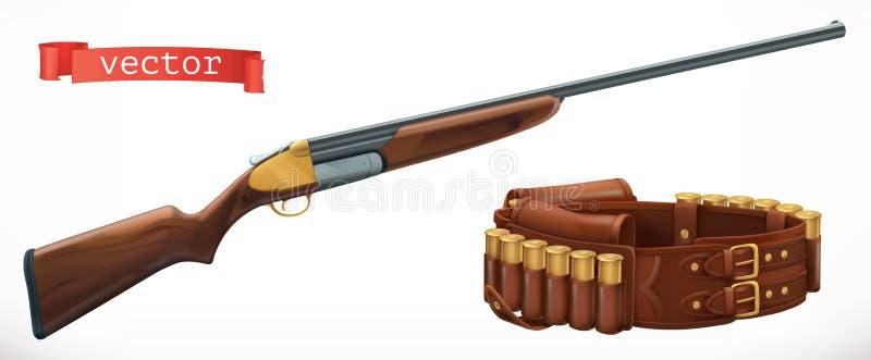 猎枪和子弹带 3d向量 库存例证