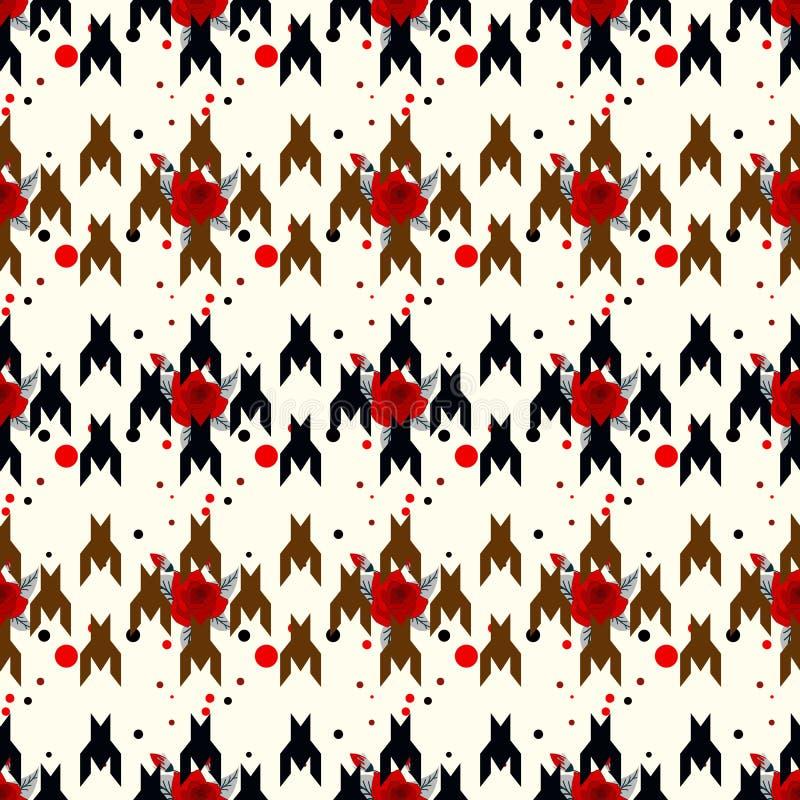 猎犬牙无缝的传染媒介patternwit红色花 在黑白颜色的几何印刷品 古典英语 库存例证