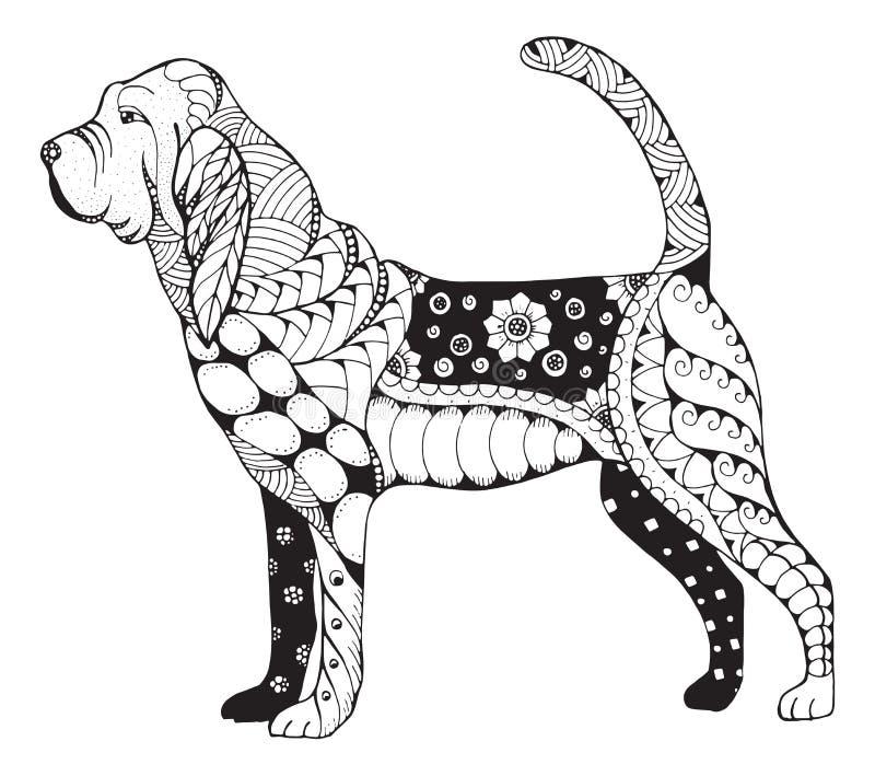 猎犬zentangle传统化了,导航,例证,徒手画 皇族释放例证