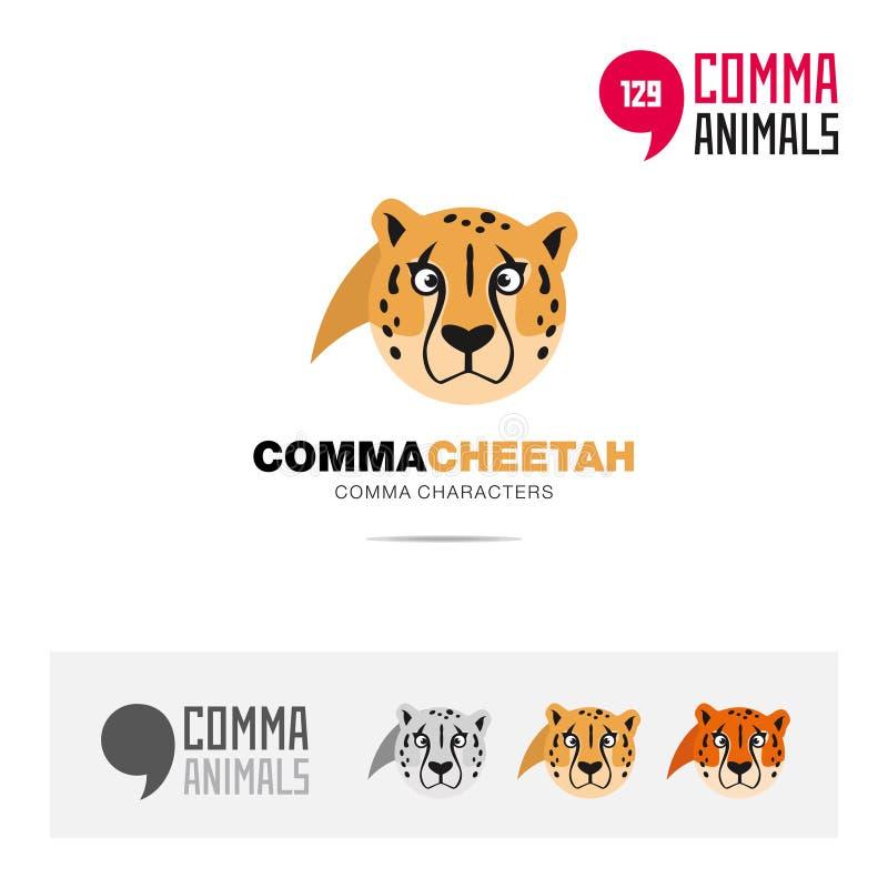 猎豹动物概念象集合和现代品牌身份商标模板和根据逗号的app标志签字 库存例证