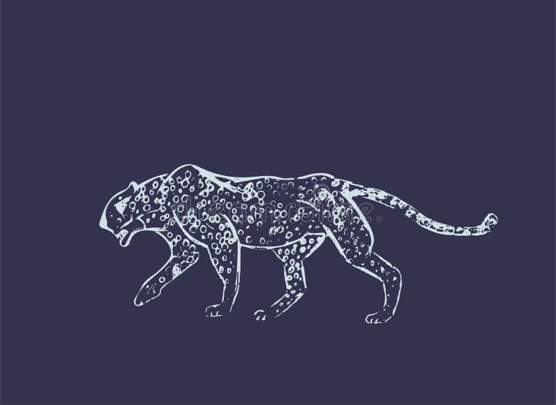 猎豹 手拉的墨水剪影 水平的图画 传染媒介板刻 食肉动物的线艺术 空白线路在黑暗隔绝的例证 皇族释放例证