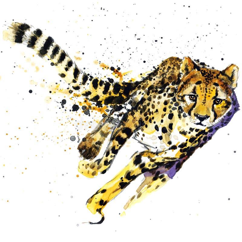 猎豹T恤杉图表,与飞溅水彩的非洲动物猎豹例证构造了背景 异常的例证w