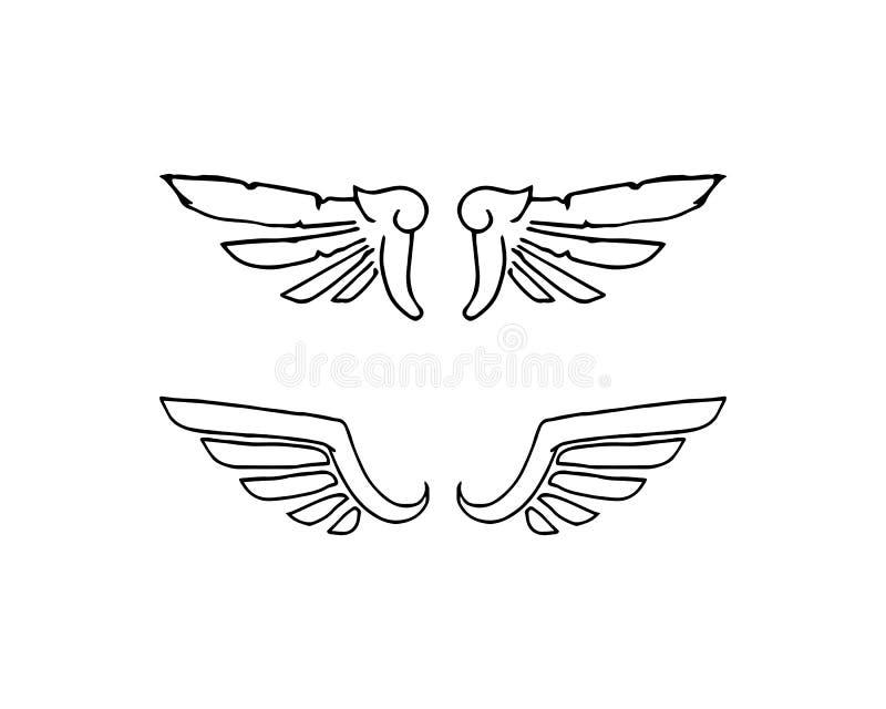 猎鹰翼商标模板传染媒介象设计 向量例证