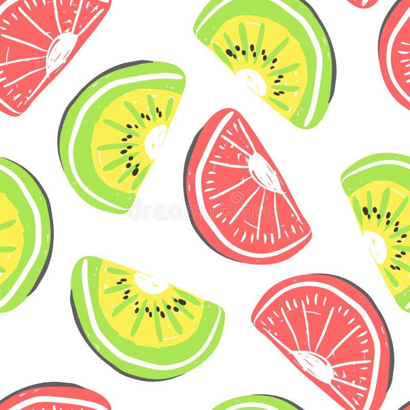 猕猴桃和葡萄柚无缝的样式 新鲜的猕猴桃和葡萄柚,热带水果夏天戒毒所 皇族释放例证