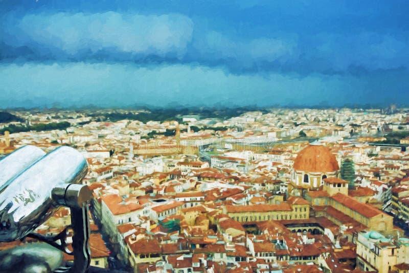 猛冲在佛罗伦萨市,意大利,例证 皇族释放例证