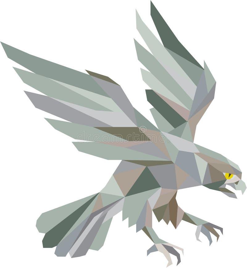 猛扑灰色低多角形的旅游猎鹰 库存例证