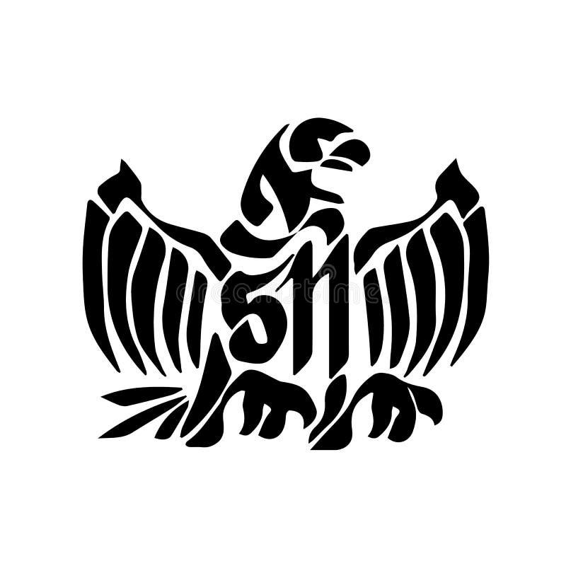 猛扑的纹身花刺老鹰 皇族释放例证