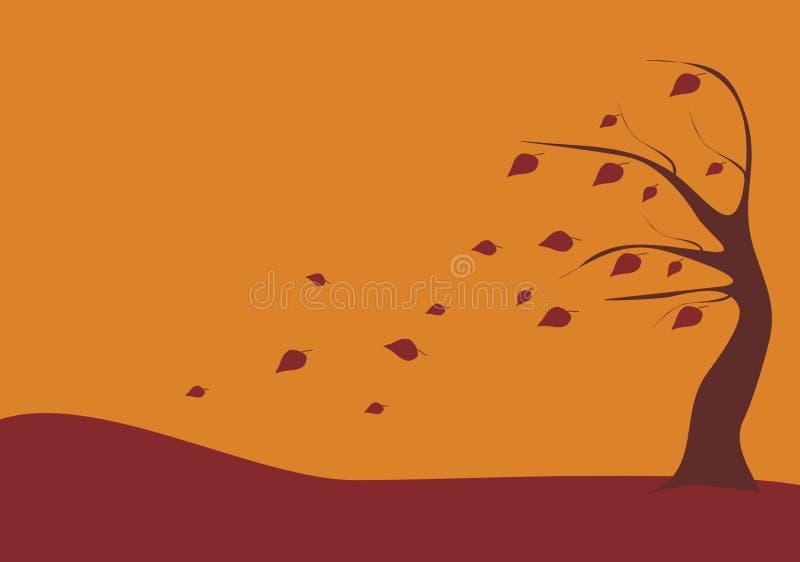 猛烈的结构树风 库存例证