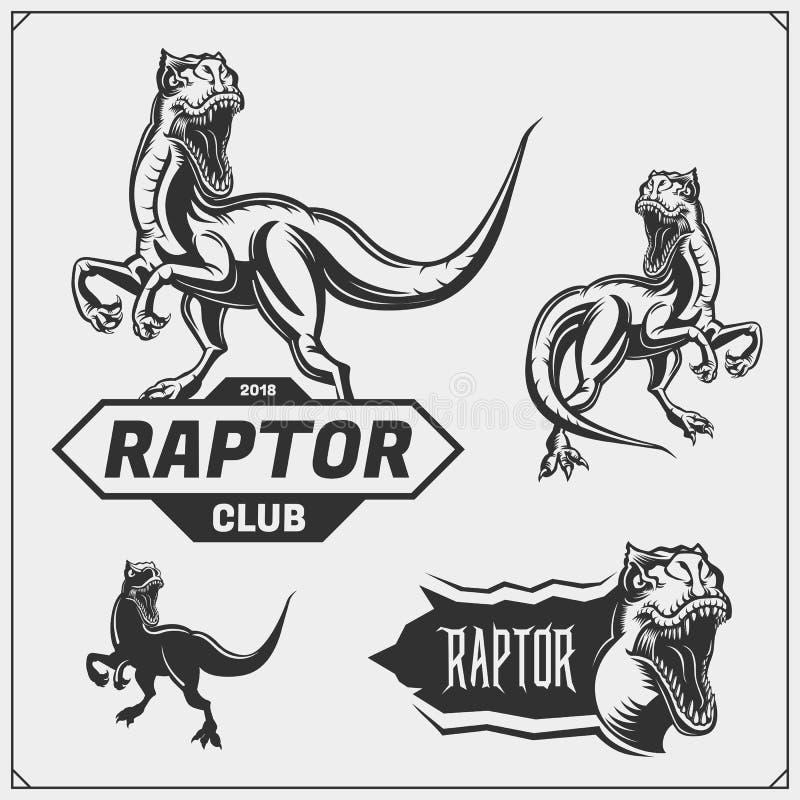 猛禽恐龙吉祥人 猛禽象征和商标体育俱乐部的 r 皇族释放例证