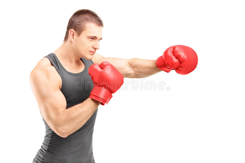 猛击与红色拳击手套的男性拳击手 库存照片