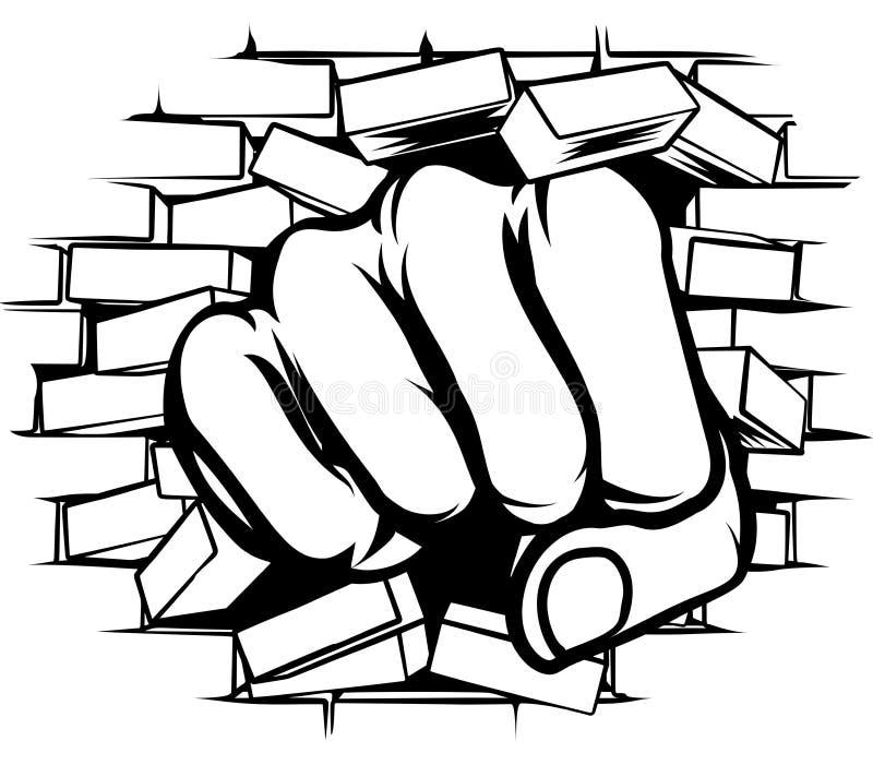 猛击的拳头通过砖墙 皇族释放例证