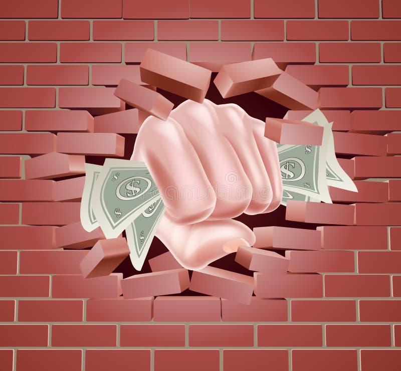 猛击通过墙壁的金钱拳头 皇族释放例证