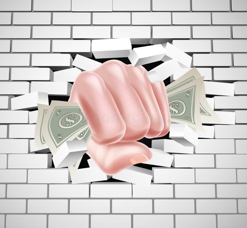 猛击通过白色砖墙的金钱拳头 向量例证