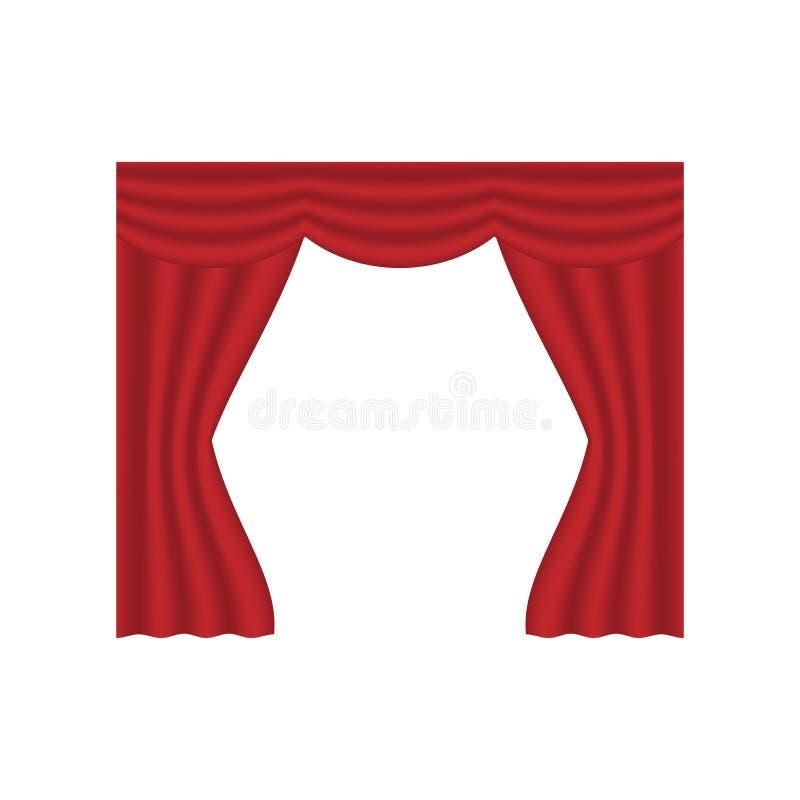猩红色红色帷幕室内装饰设计想法现实象收藏被隔绝的传染媒介例证 皇族释放例证