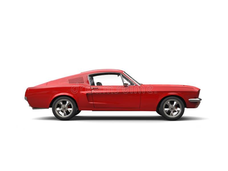 猩红色红色美国葡萄酒肌肉车的侧视图 库存例证