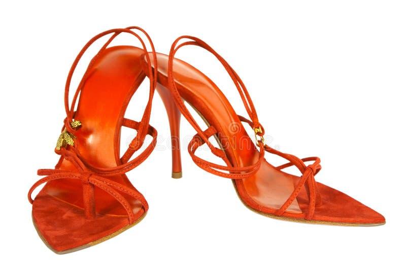 猩红色鞋子 图库摄影