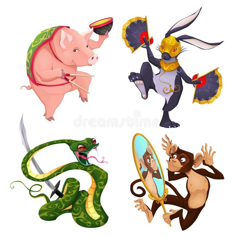 猪、兔子、蛇和猴子 库存例证