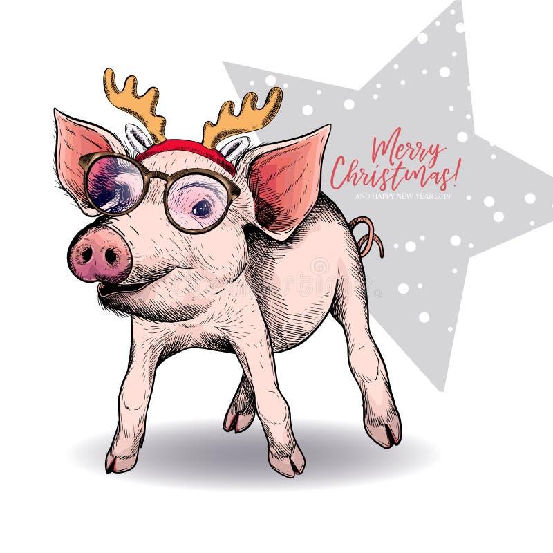 猪佩带的鹿垫铁和玻璃手拉的画象  传染媒介圣诞节例证 色的小猪 Xmas,新年 库存例证