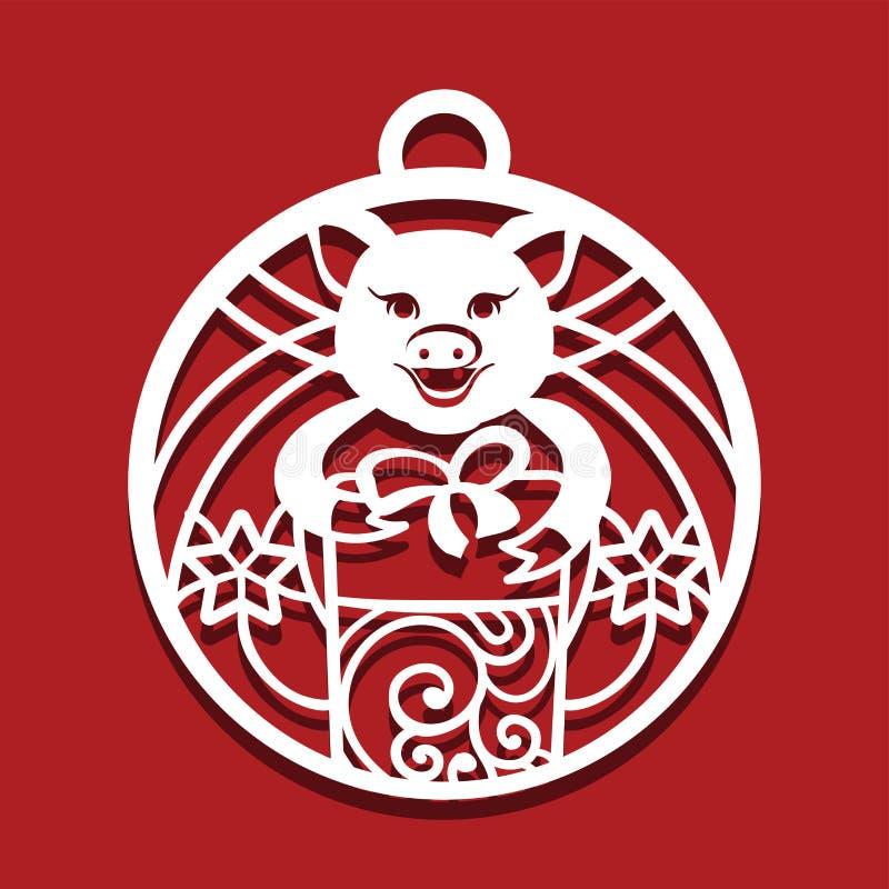 猪切口象 激光切口的猪简单的图画 与礼物的猪在圈子形状 2019年的标志 向量例证