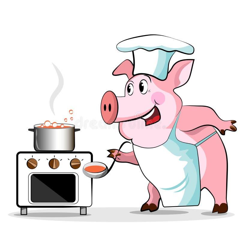 猪厨师-主厨暂挂 向量例证