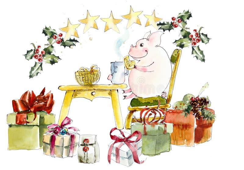 猪和圣诞节礼物 背景看板卡圣诞节问候页草图模板普遍性万维网 额嘴装饰飞行例证图象其纸部分燕子水彩 向量例证