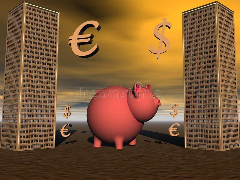 猪和欧元和美元 向量例证