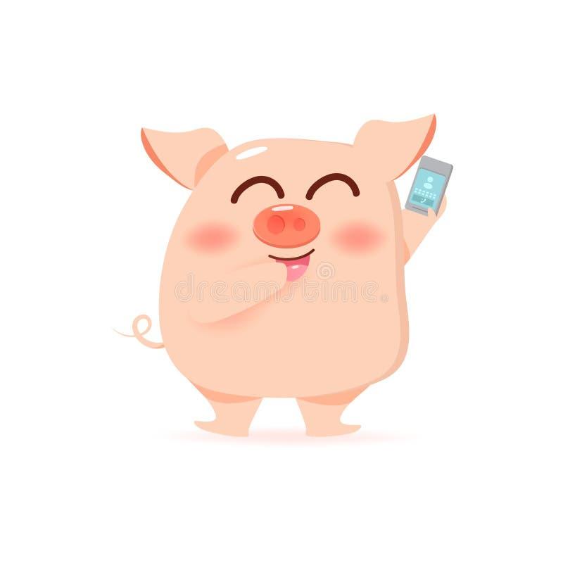 猪和电话,流动叫的卡通人物汇集传染媒介例证 向量例证