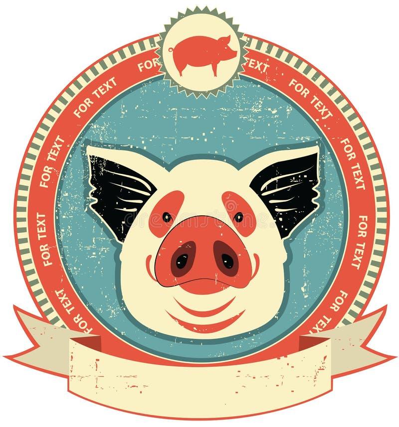 猪在老纸纹理的题头标签。 皇族释放例证