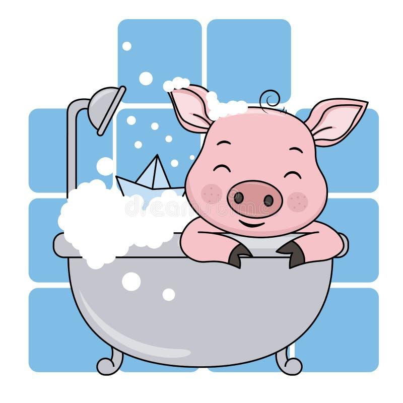 猪在蓝色背景的卫生间里 皇族释放例证
