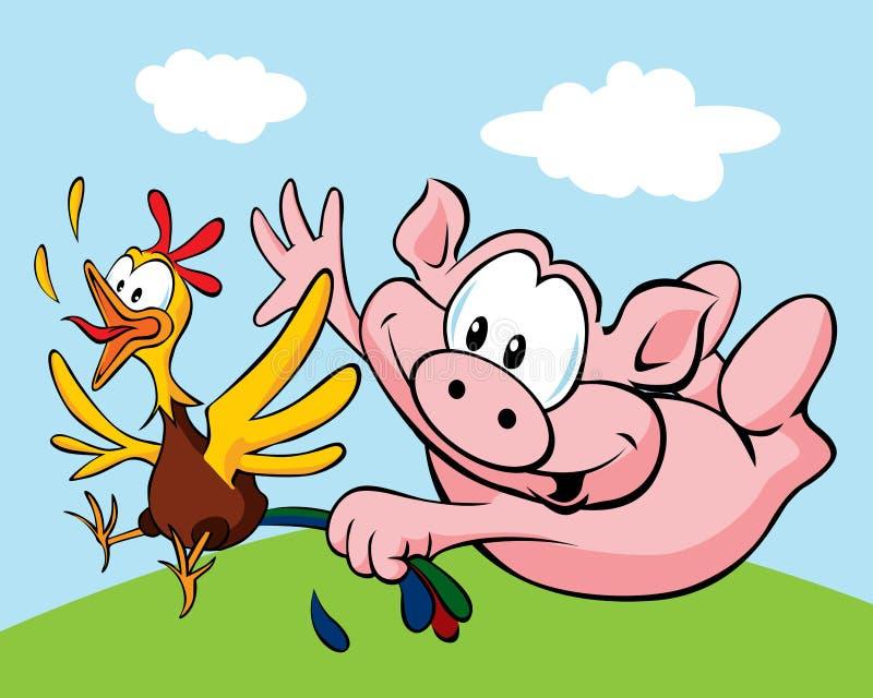 猪抓住母鸡 免版税图库摄影