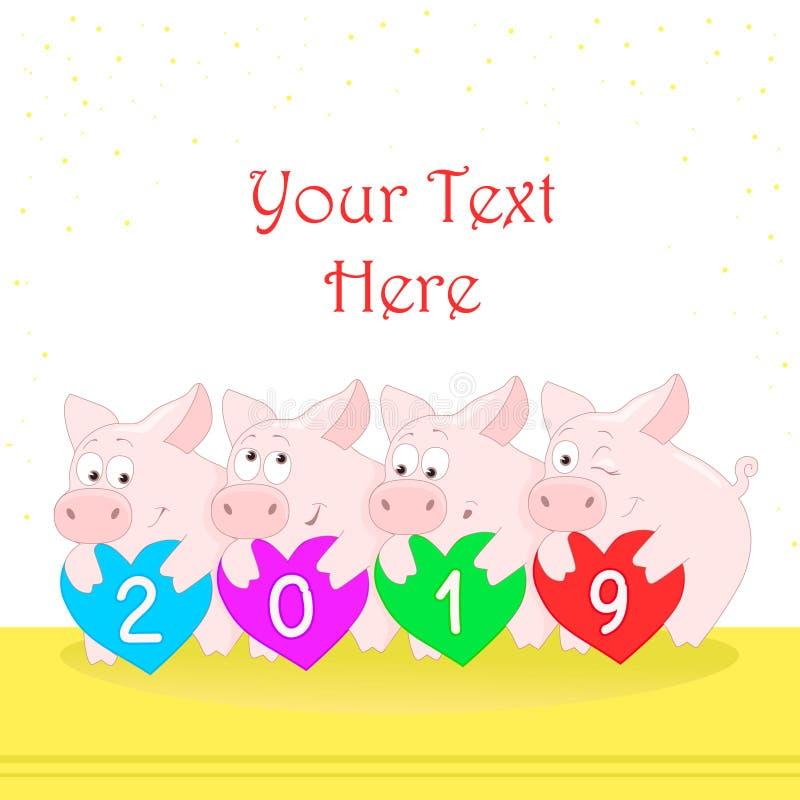 猪拿着与图的心脏 滑稽的字符用不同的姿势 新年好 2019年 2007个看板卡招呼的新年好 皇族释放例证