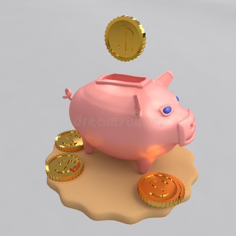 猪新年的存钱罐标志财富的 3d翻译 向量例证